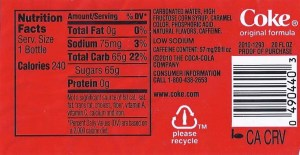 Fig. C - Normal 20-ounce Coke label