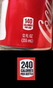 Fig. D - Calorie listings on Coke labels